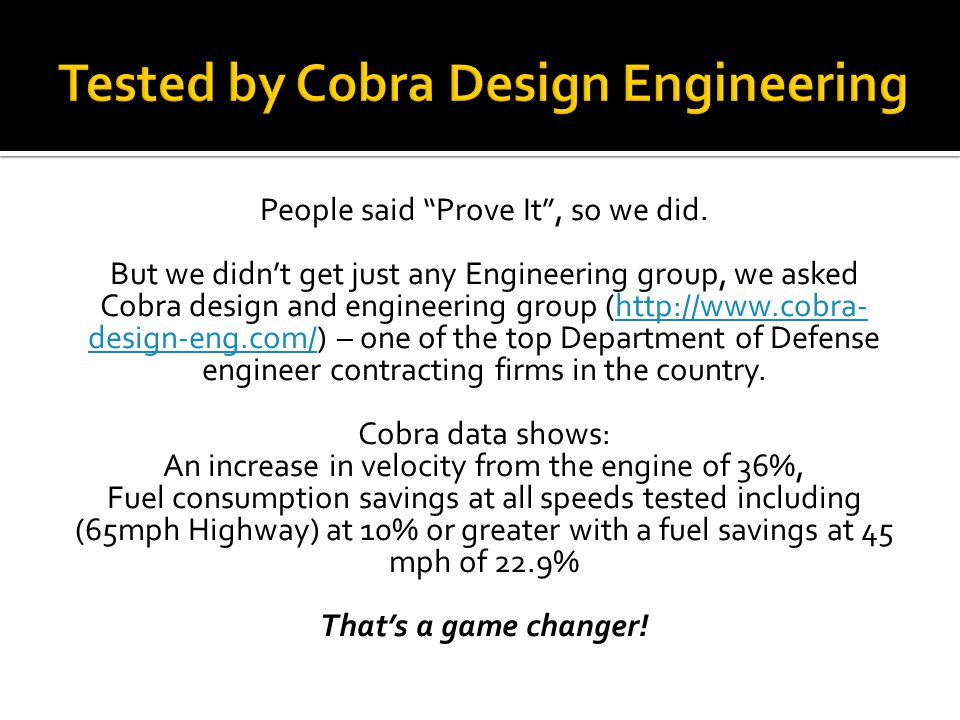 Tested by Cobra Design Engineering