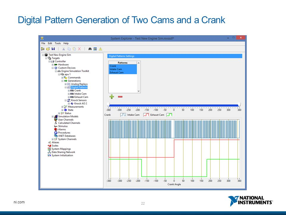 Digital Pattern Generation of Two Cams and a Crank