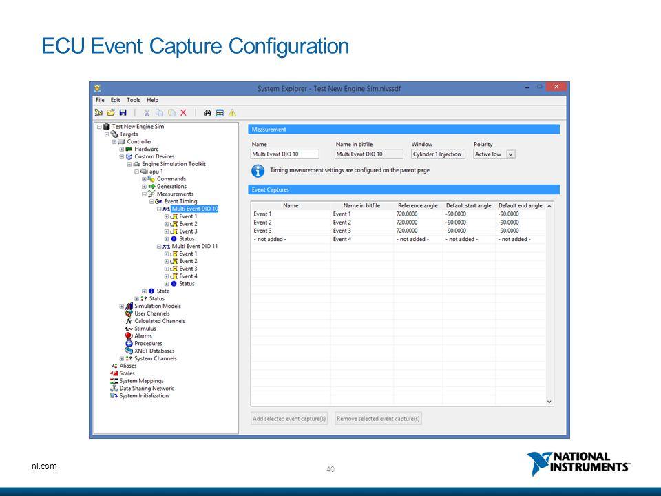 ECU Event Capture Configuration