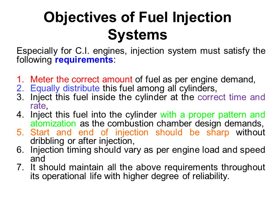 Objectives of Fuel Injection Systems