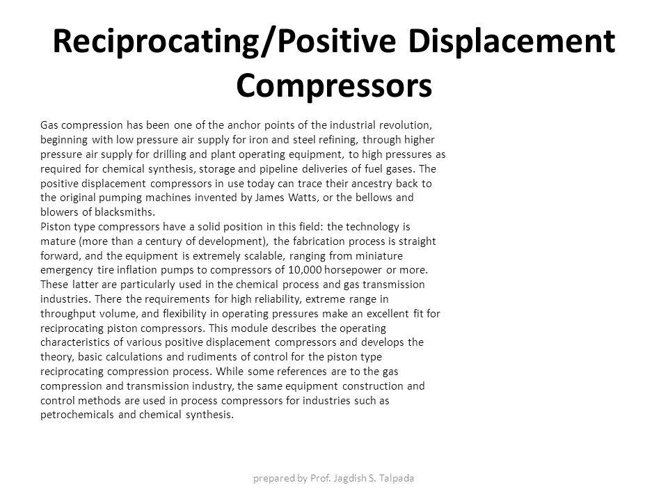 Reciprocating/Positive Displacement Compressors