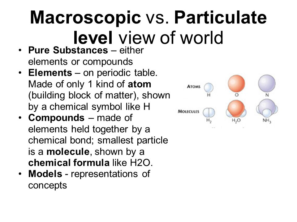 Macroscopic vs. Particulate level view of world