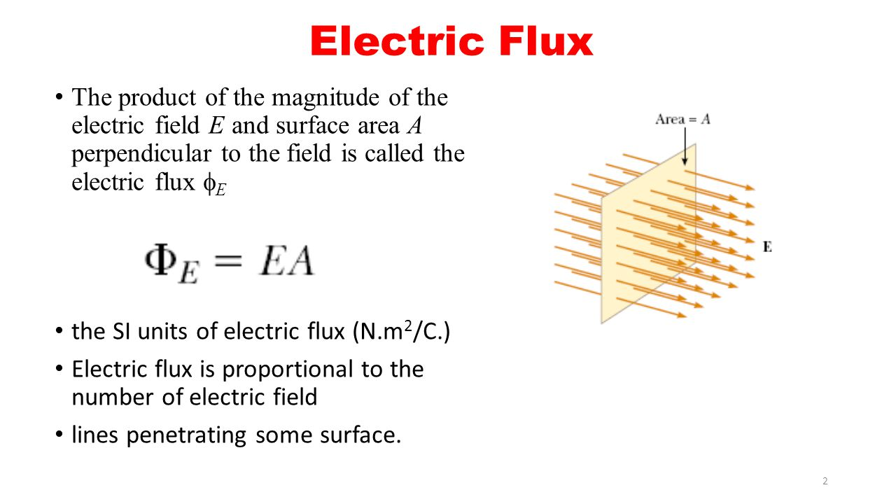 Electric Flux The product of the magnitude of the electric field E and surface area A perpendicular to the field is called the electric flux E.