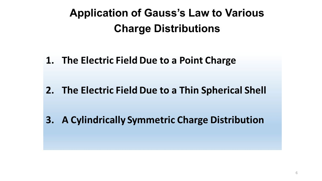 Application of Gauss's Law to Various