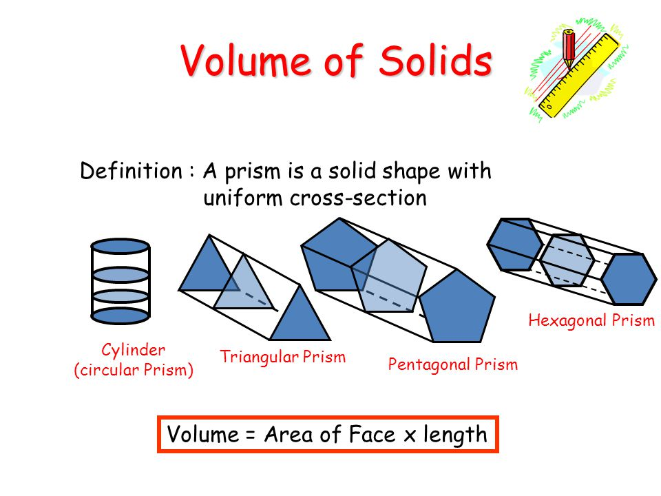 Volume of Solids Definition : A prism is a solid shape with