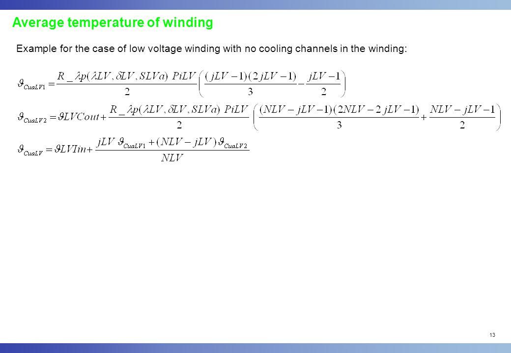 Average temperature of winding