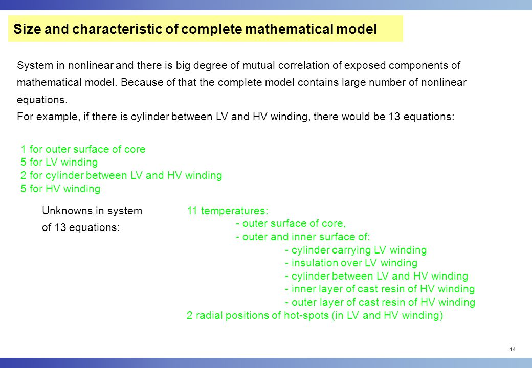 Size and characteristic of complete mathematical model