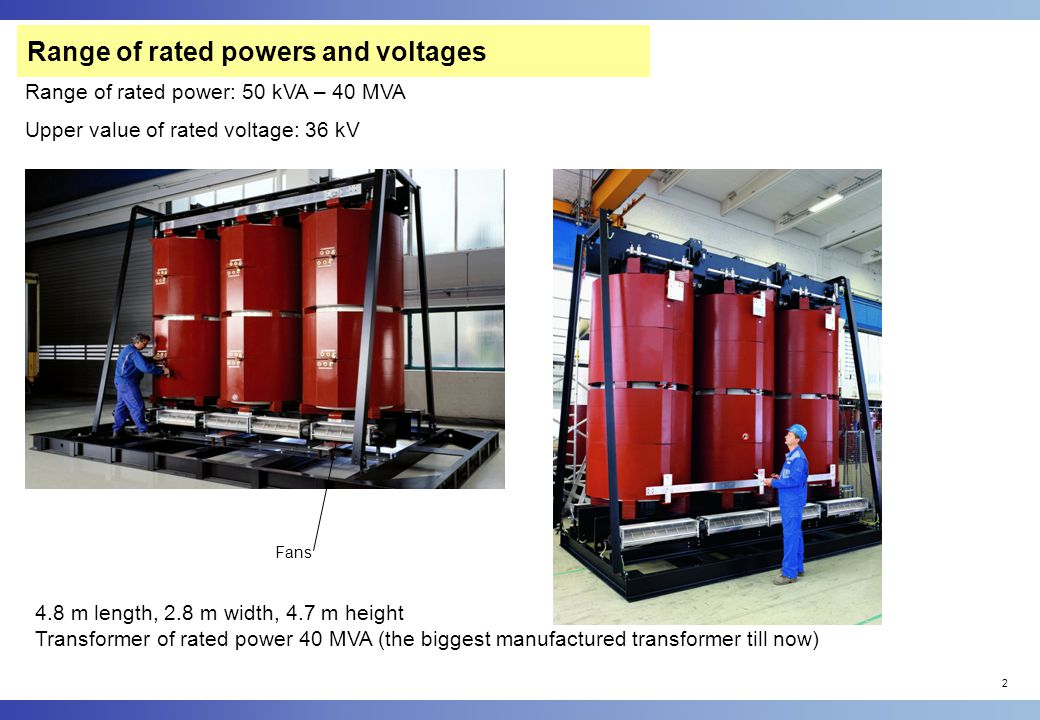 Range of rated powers and voltages
