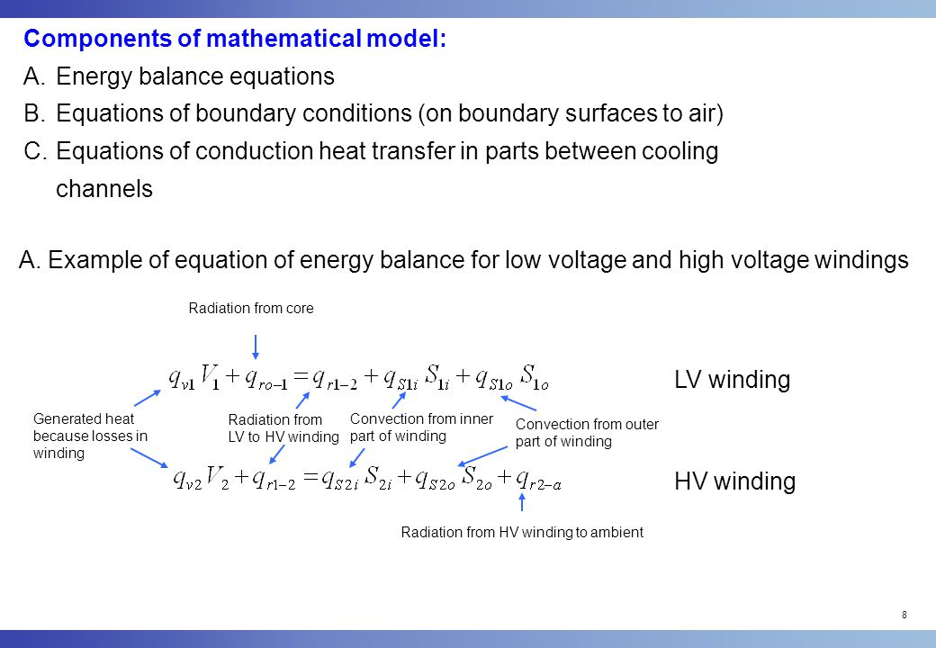 Components of mathematical model: Energy balance equations