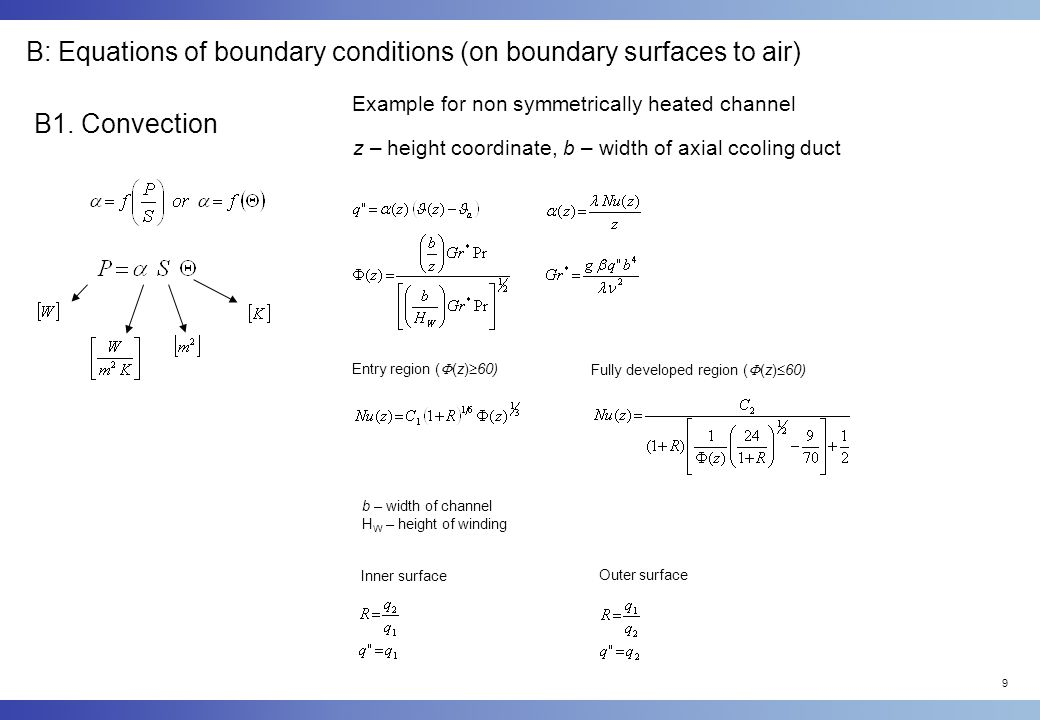 B: Equations of boundary conditions (on boundary surfaces to air)