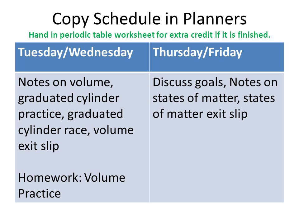 Copy Schedule in Planners Hand in periodic table worksheet for extra credit if it is finished.