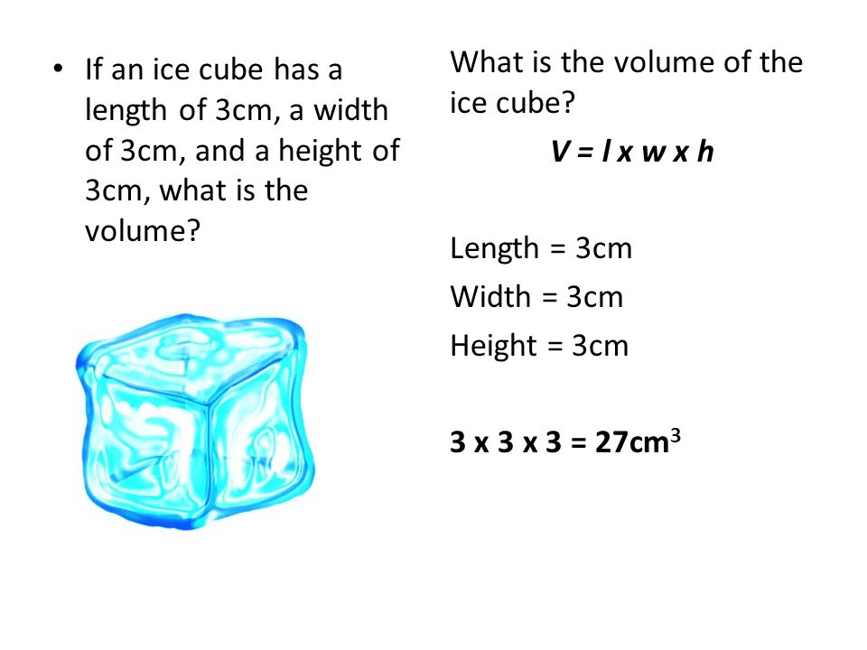 What is the volume of the ice cube