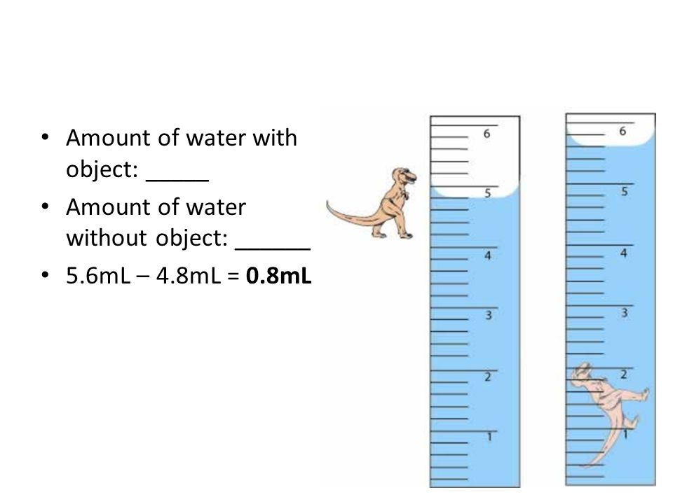 Amount of water with object: _____