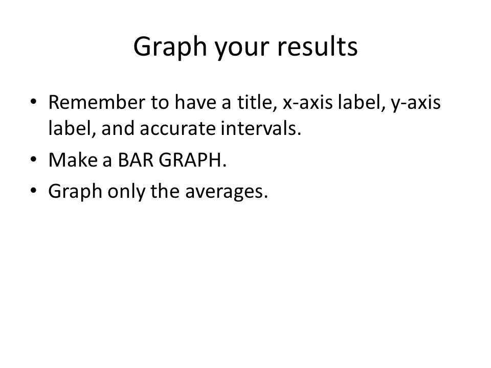 Graph your results Remember to have a title, x-axis label, y-axis label, and accurate intervals. Make a BAR GRAPH.