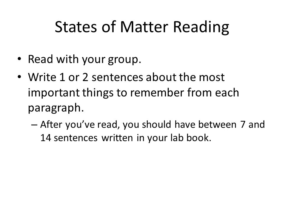 States of Matter Reading