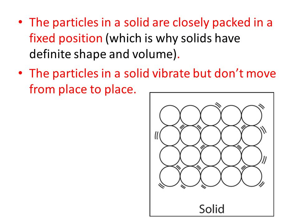 The particles in a solid are closely packed in a fixed position (which is why solids have definite shape and volume).