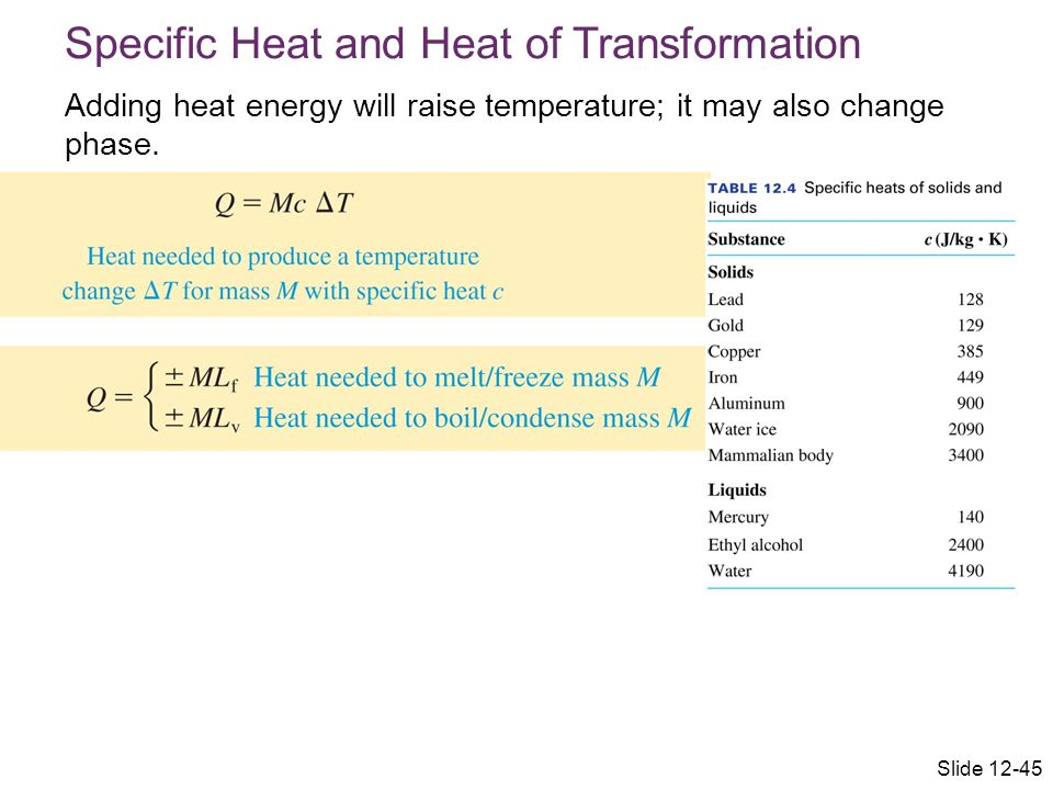 Specific Heat and Heat of Transformation