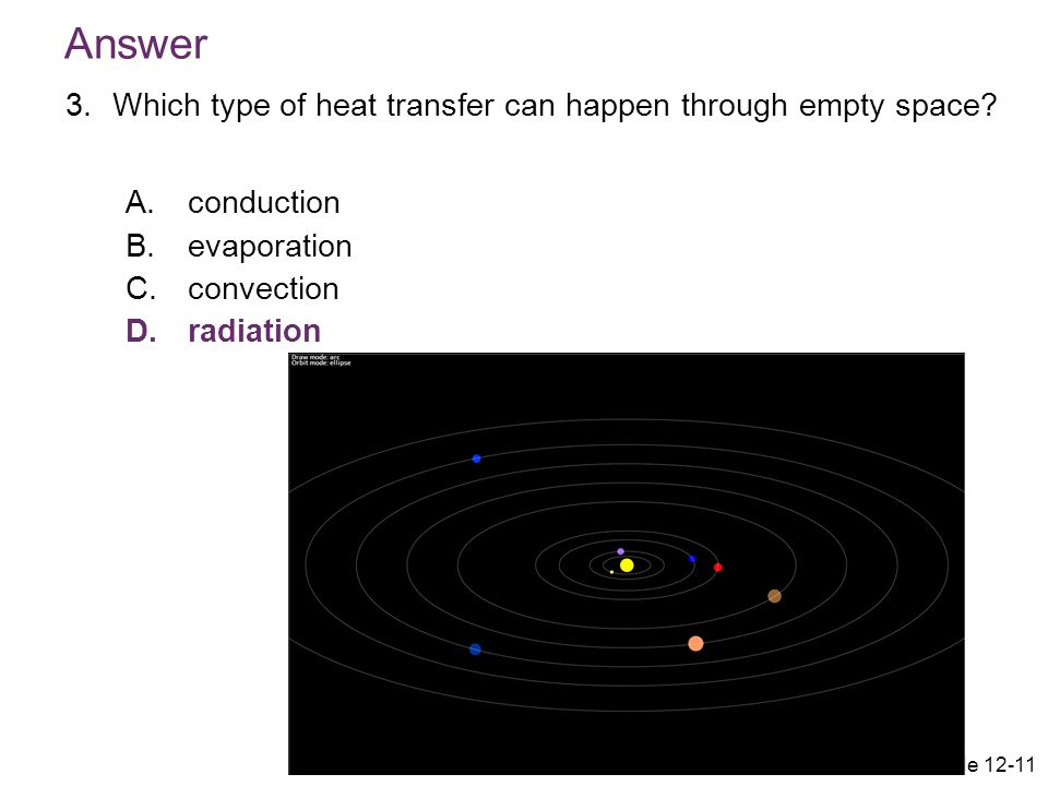 Answer Which type of heat transfer can happen through empty space