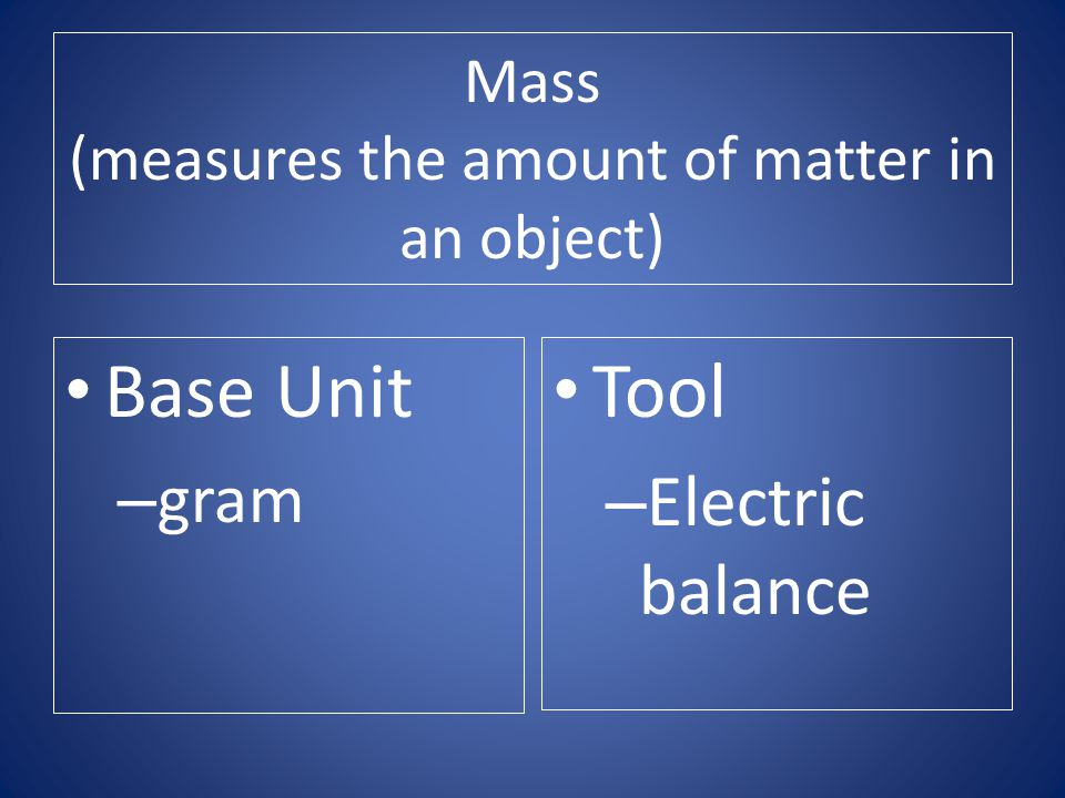 Mass (measures the amount of matter in an object)