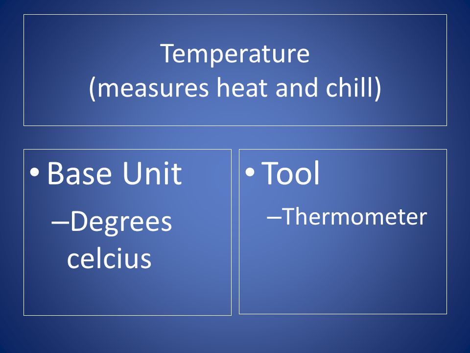 Temperature (measures heat and chill)