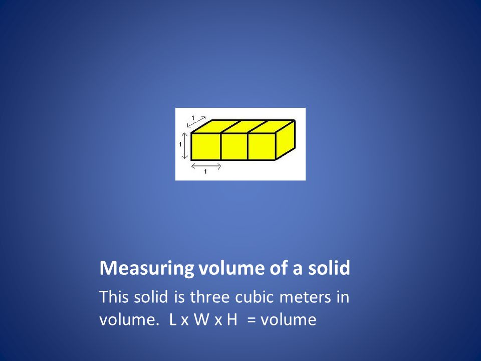 Measuring volume of a solid