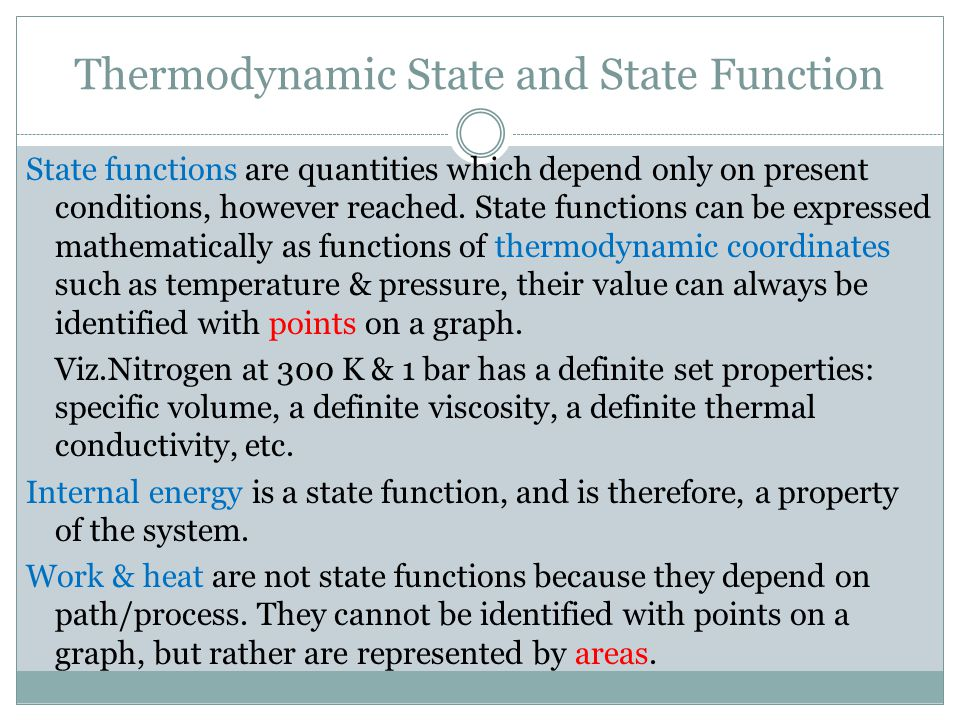 Thermodynamic State and State Function