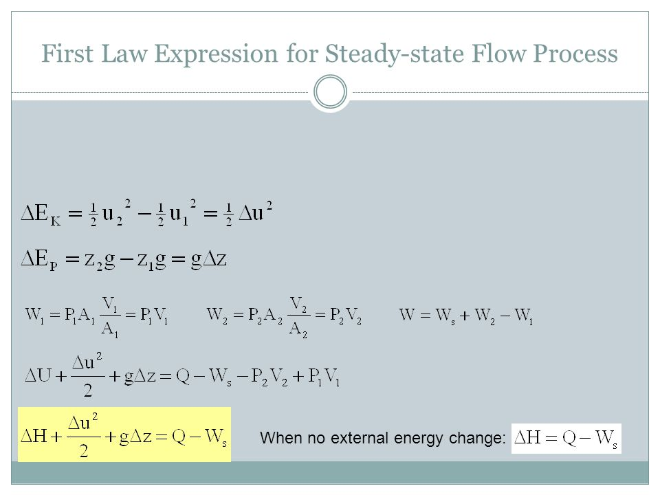 First Law Expression for Steady-state Flow Process