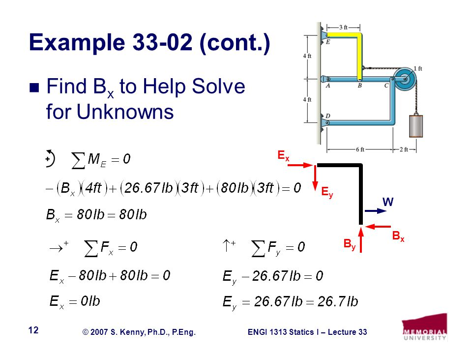 Example 33-02 (cont.) Find Bx to Help Solve for Unknowns Ex Ey W Bx By