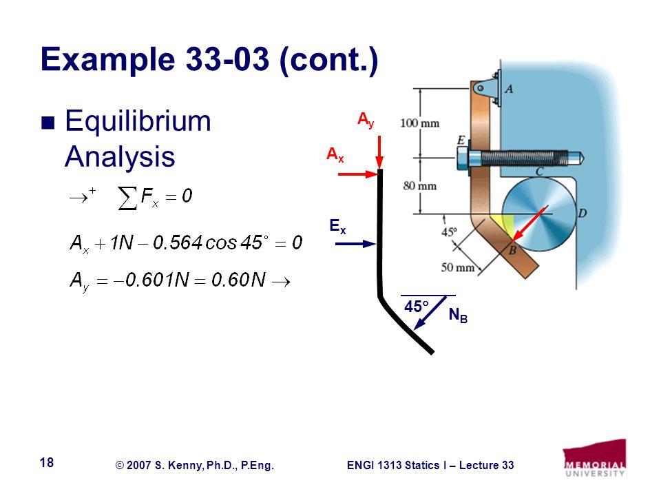 Example 33-03 (cont.) Equilibrium Analysis Ay Ax Ex 45 NB