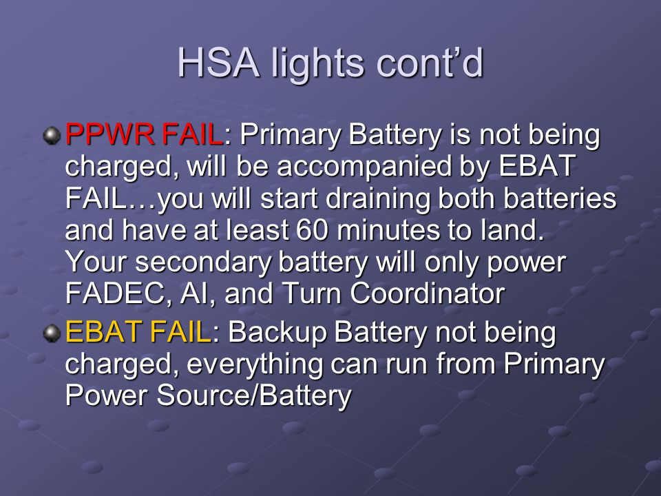 HSA lights cont'd