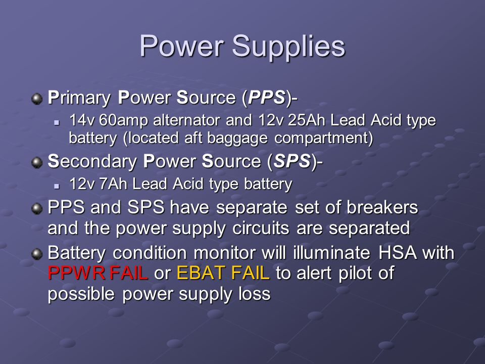 Power Supplies Primary Power Source (PPS)-