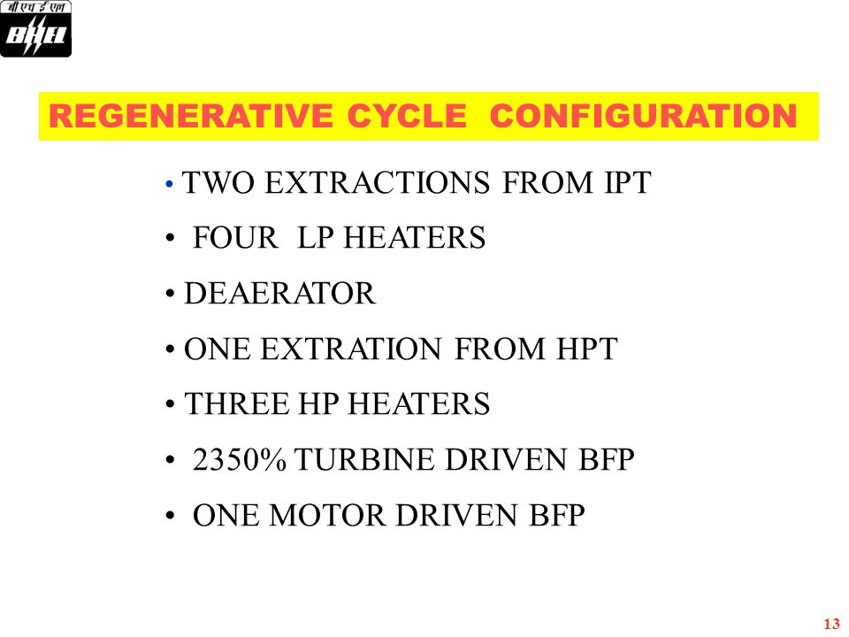 REGENERATIVE CYCLE CONFIGURATION