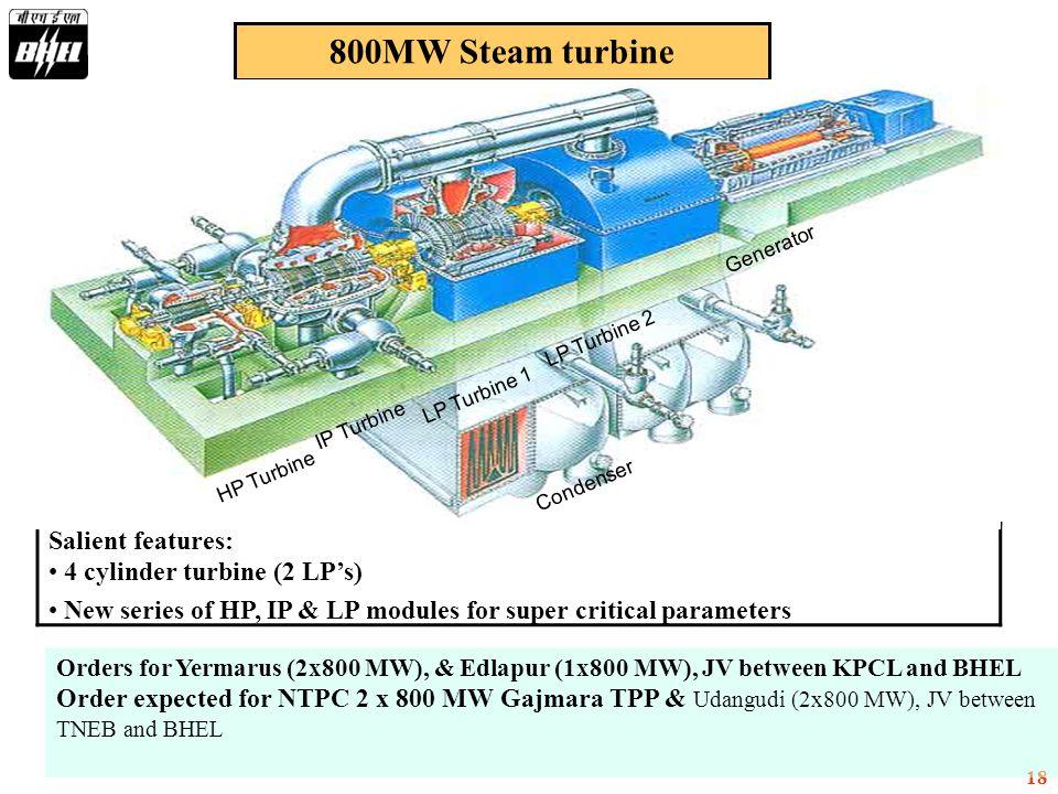 800MW Steam turbine Salient features: 4 cylinder turbine (2 LP's)