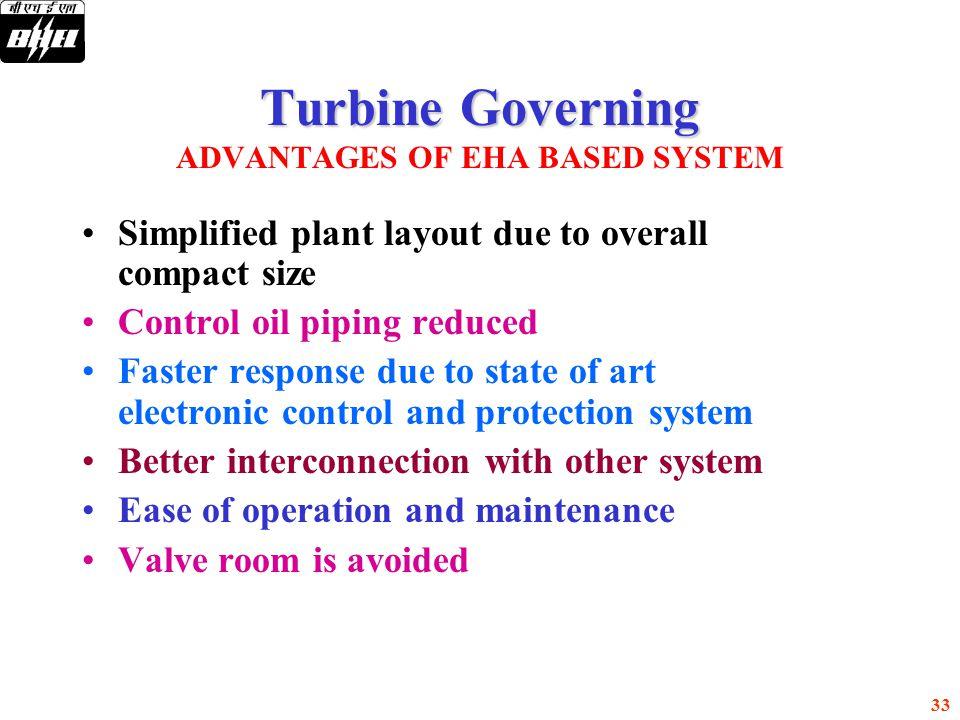 Turbine Governing ADVANTAGES OF EHA BASED SYSTEM