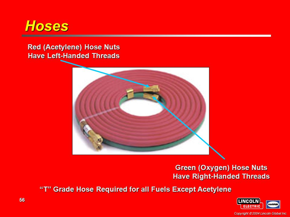 Hoses Red (Acetylene) Hose Nuts Have Left-Handed Threads