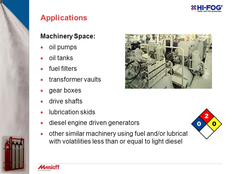 Applications Machinery Space: oil pumps oil tanks fuel filters