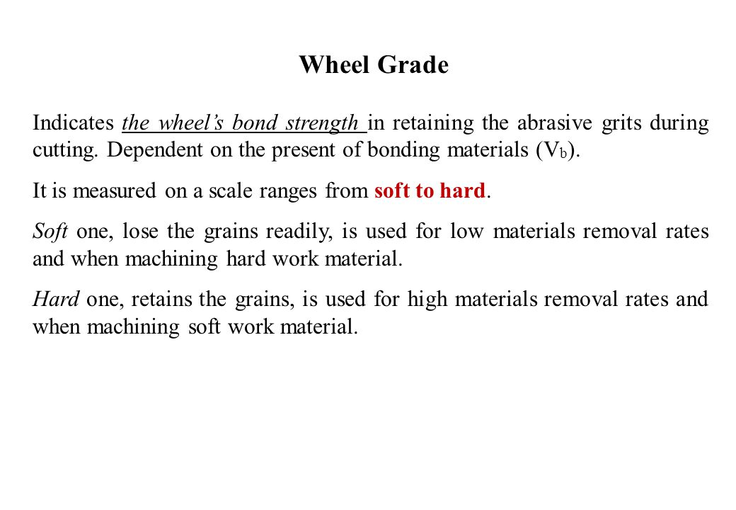 Wheel Grade Indicates the wheel's bond strength in retaining the abrasive grits during cutting. Dependent on the present of bonding materials (Vb).