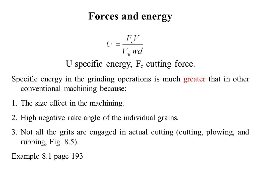 U specific energy, Fc cutting force.