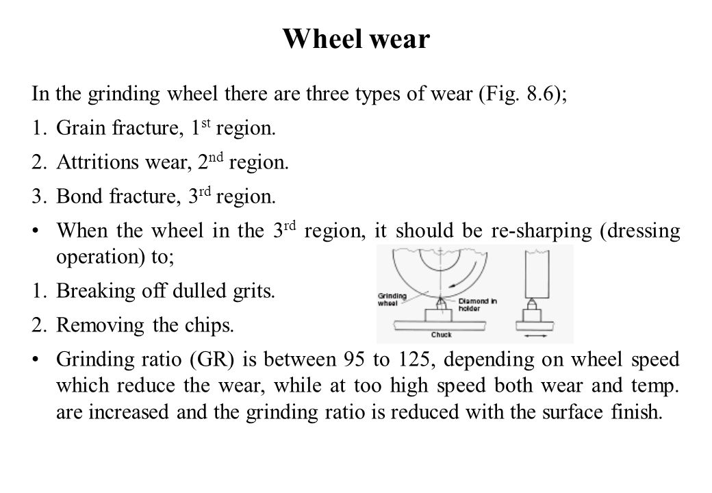Wheel wear In the grinding wheel there are three types of wear (Fig. 8.6); Grain fracture, 1st region.