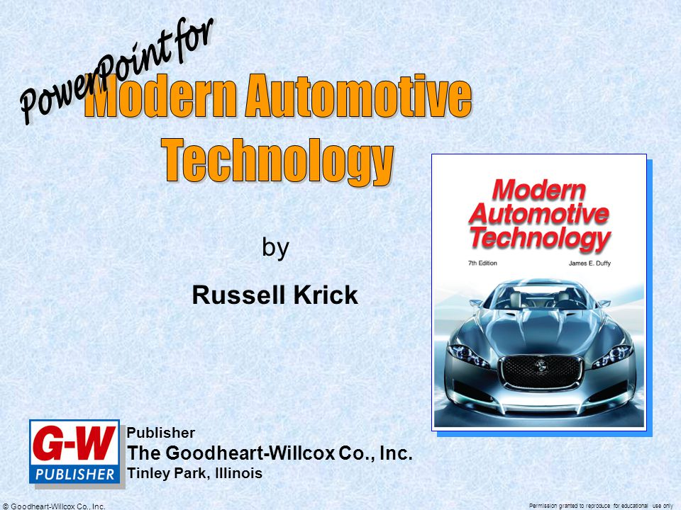 Modern Automotive Technology PowerPoint for by Russell Krick - ppt ...