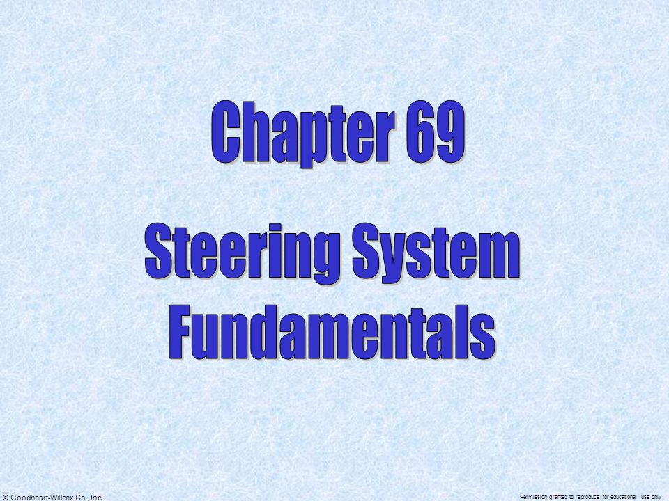 Chapter 69 Steering System Fundamentals