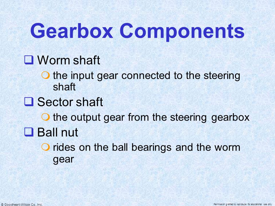 Gearbox Components Worm shaft Sector shaft Ball nut
