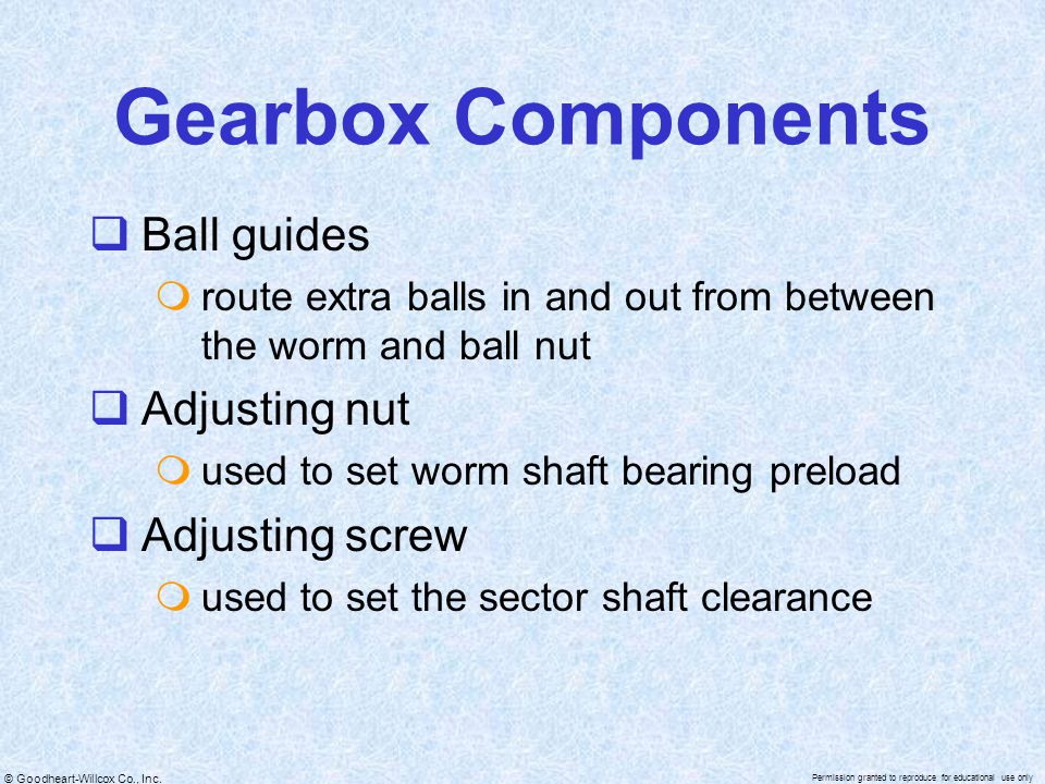 Gearbox Components Ball guides Adjusting nut Adjusting screw