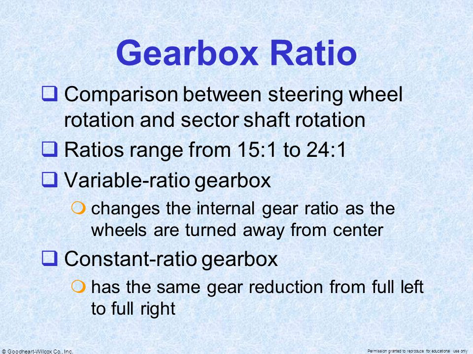 Gearbox Ratio Comparison between steering wheel rotation and sector shaft rotation. Ratios range from 15:1 to 24:1.