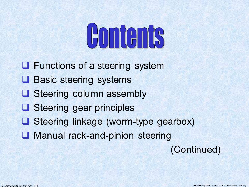Contents Functions of a steering system Basic steering systems