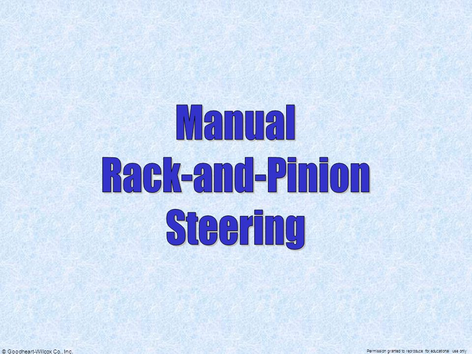 Manual Rack-and-Pinion Steering