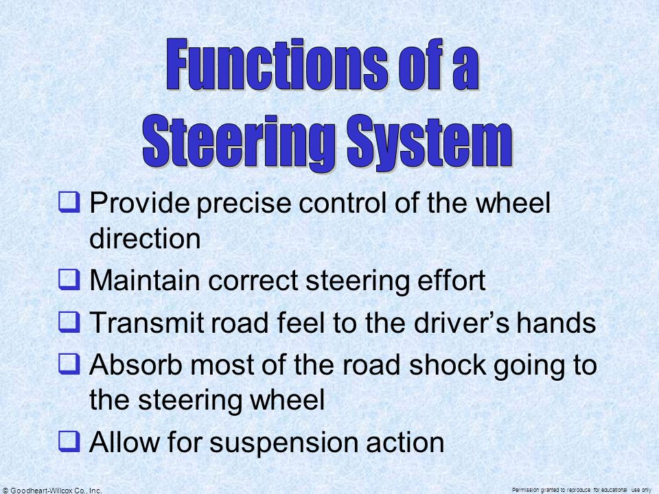 Functions of a Steering System