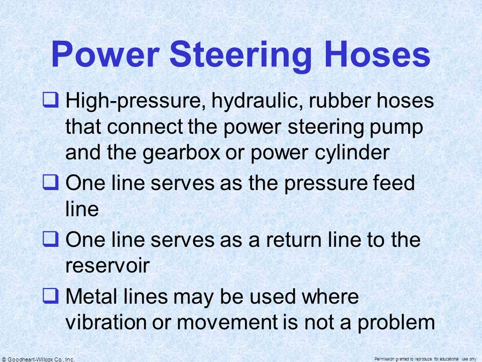 Power Steering Hoses High-pressure, hydraulic, rubber hoses that connect the power steering pump and the gearbox or power cylinder.