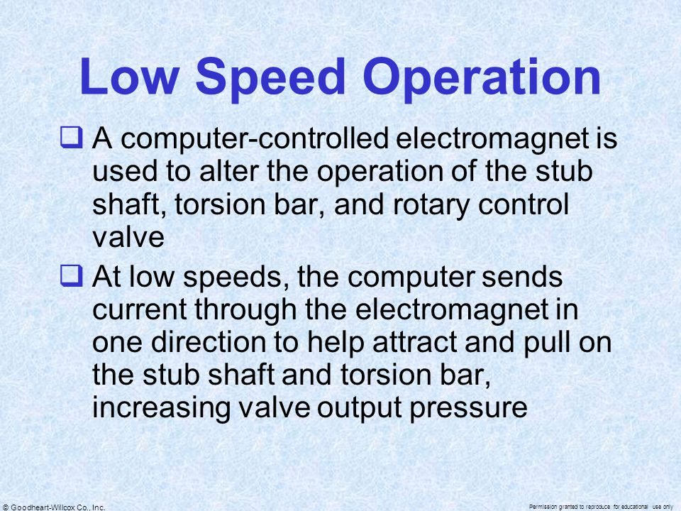 Low Speed Operation A computer-controlled electromagnet is used to alter the operation of the stub shaft, torsion bar, and rotary control valve.
