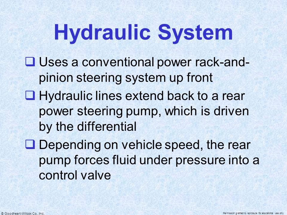 Hydraulic System Uses a conventional power rack-and-pinion steering system up front.